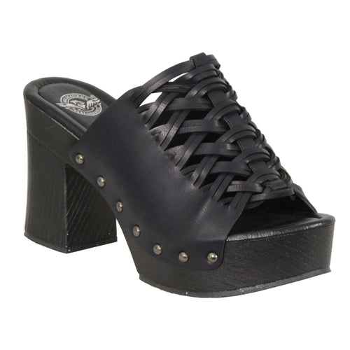 Milwaukee Performance MBL9410 Womens Black Open Toe Platform Wedges with Studs