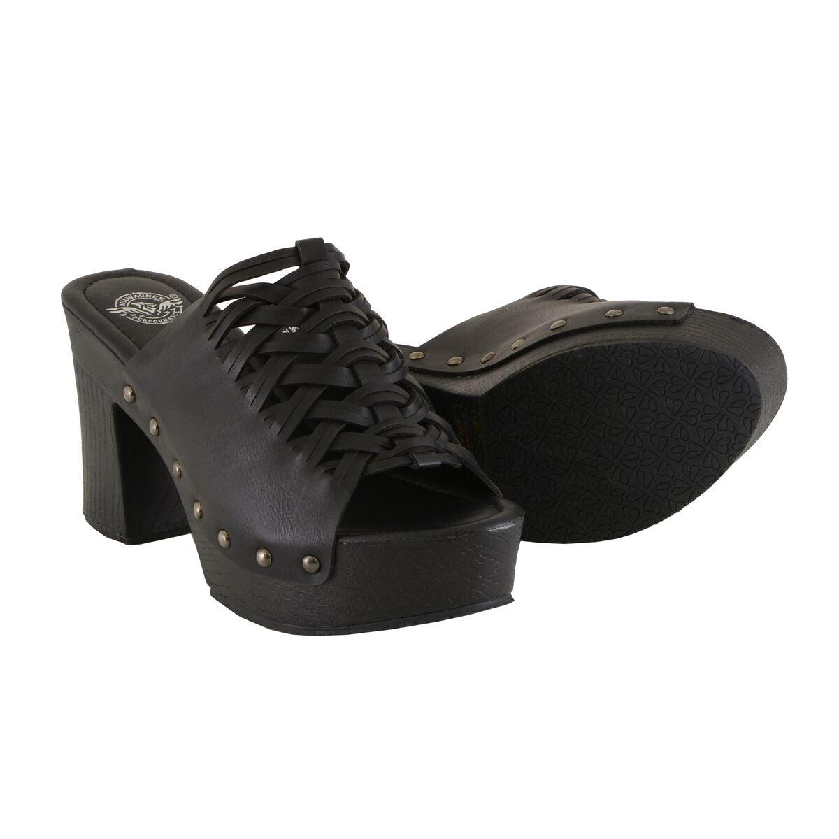 Milwaukee Performance MBL9410 Womens Black Open Toe Platform Wedges