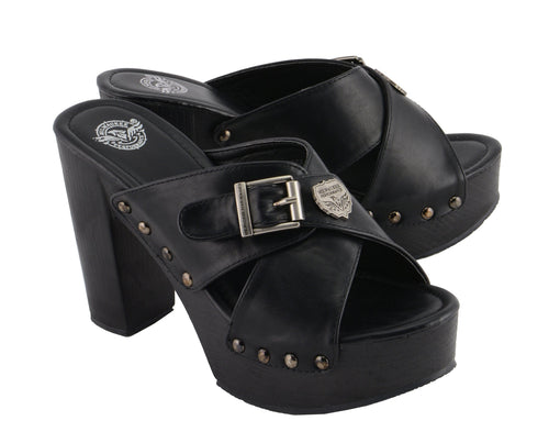 Milwaukee Performance MBL9412 Women's Open Toe Clogs with Buckle Cross Strap