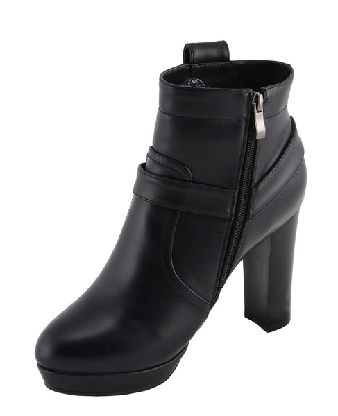 Milwaukee Performance MBL9432 Womens Black Harness Ankle Boots with Block Heel