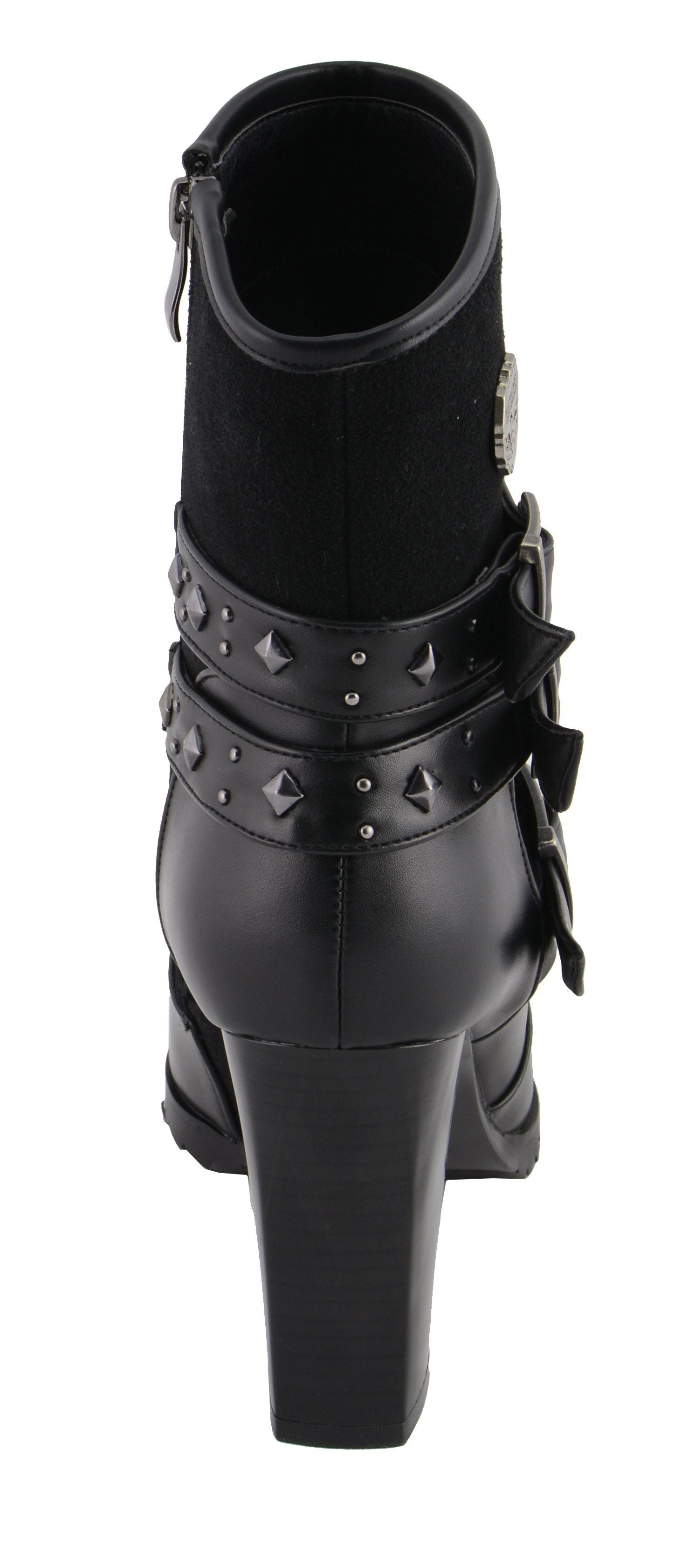 Milwaukee Leather MBL9433 Women's Black Triple Strap Riding Boot with