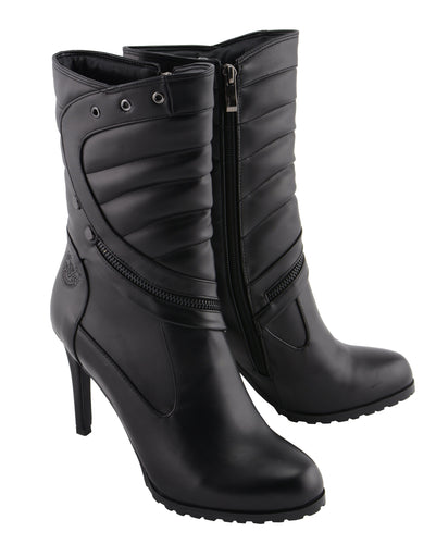 Milwaukee Performance MBL9434 Womens Black High Heel Boot with Zipper Accents
