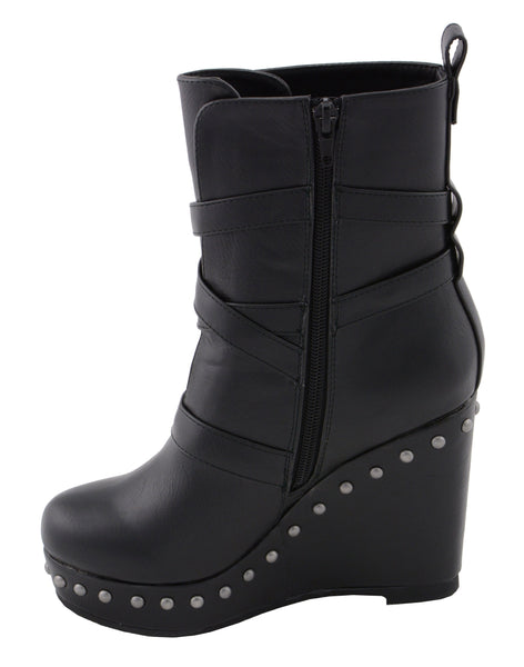 Milwaukee Performance MBL9437 Women's Black Triple Strap Boots with Platform Wedge