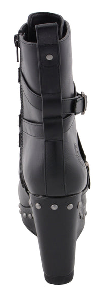Milwaukee Performance MBL9437 Womens Black Triple Strap Boots with Platform Wedge
