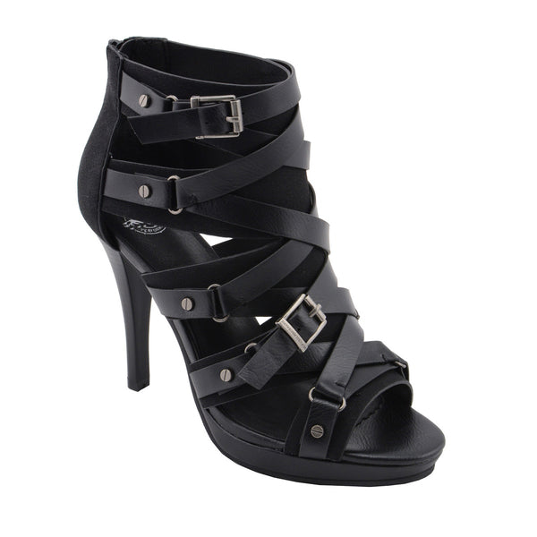 Milwaukee Performance MBL9451 Women Black Stiletto Heeled Sandals with Ankle Strap