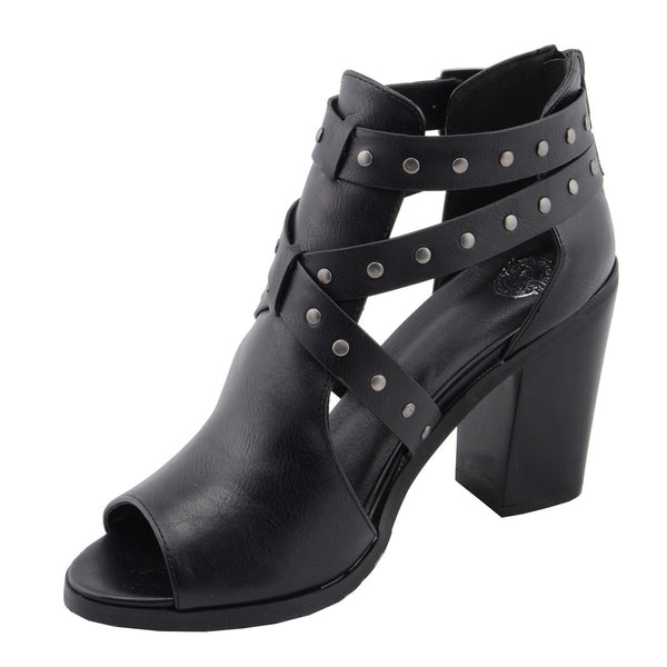 Milwaukee Performance MBL9454 Women's Heel Black Studded Strap Sandal with Platform Heel