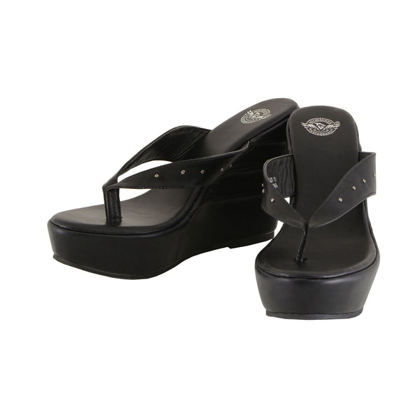 Milwaukee Performance MBL9460 Womens Black Wedge Sandals with Studed Straps