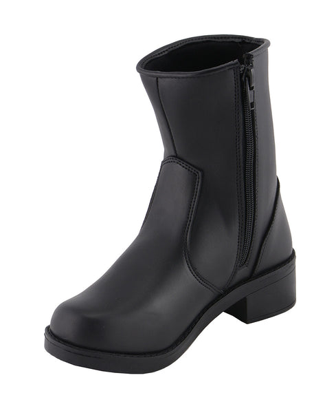 Milwaukee Leather MBL9480 Ladies Black Super Clean Riding Boots with Side Zipper Entry