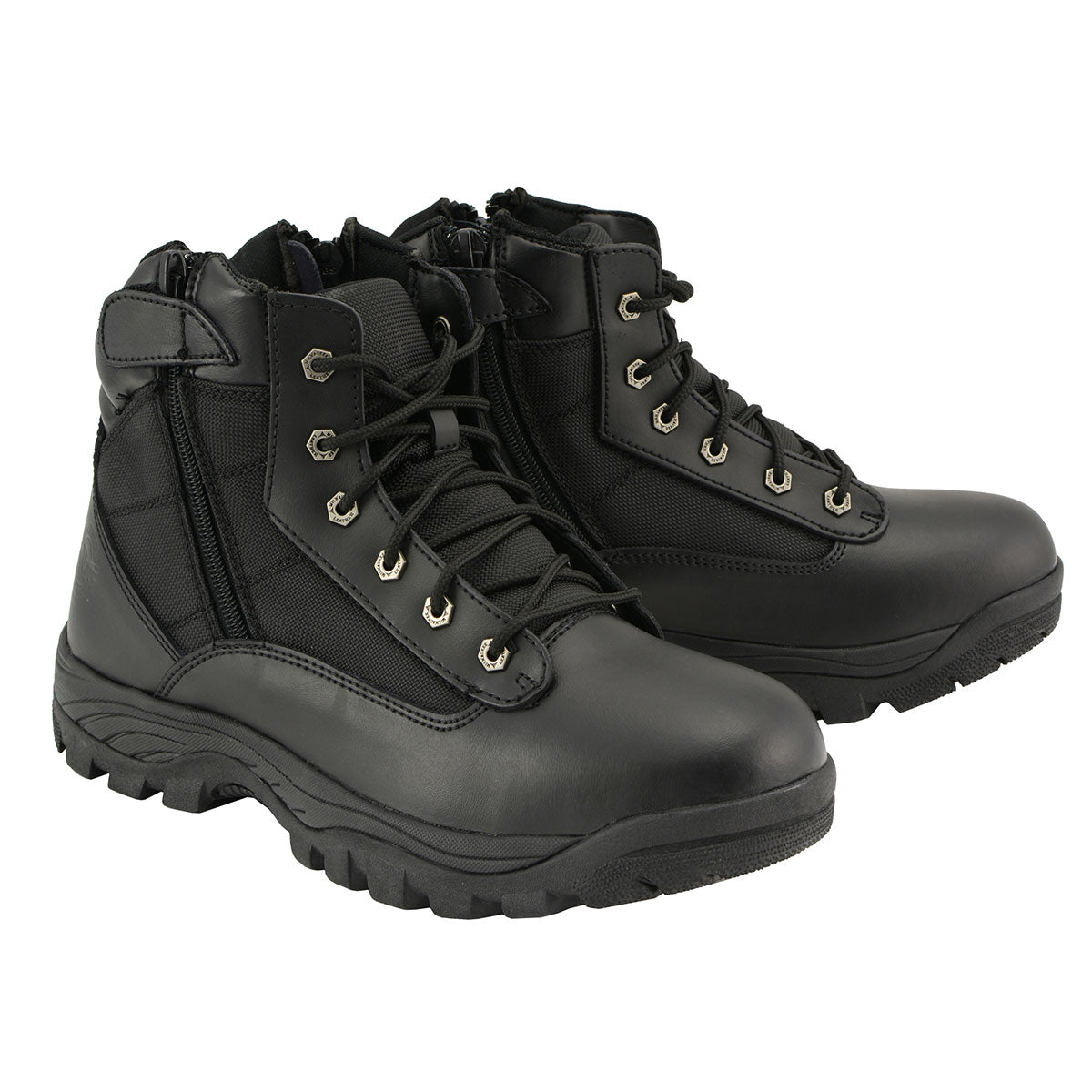 Milwaukee Leather MBM9011 Mens 6 inch Leather Tactical Lace Front Boot with Side Zipper Entry