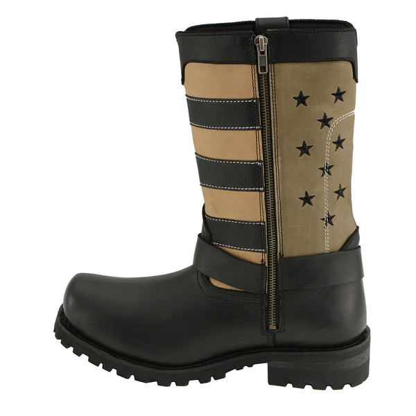 Milwaukee Leather MBM9045 Men's Stars and Stripes Black with Tan Motorcycle Harness Boots