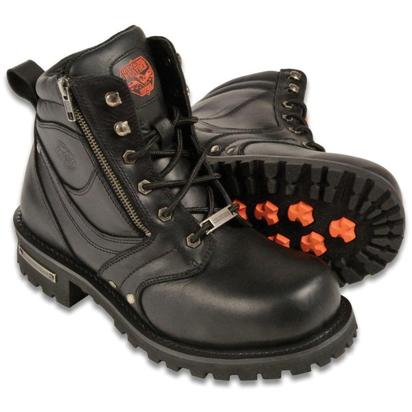 Milwaukee Leather MBM9050 Mens Wide Width Black 6 inch Lace-Up Boots with Zipper Closure