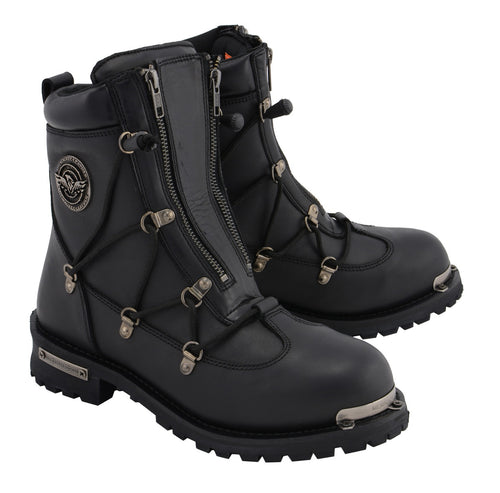Milwaukee Leather MBM9075 Mens Black 6-inch Plain Toe Dual Zipper Lock Leather Boots