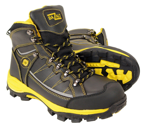 Bazalt MPM9122 Men's Black with Yellow Water and Frost Proof Leather Outdoor Lace-Up Boots