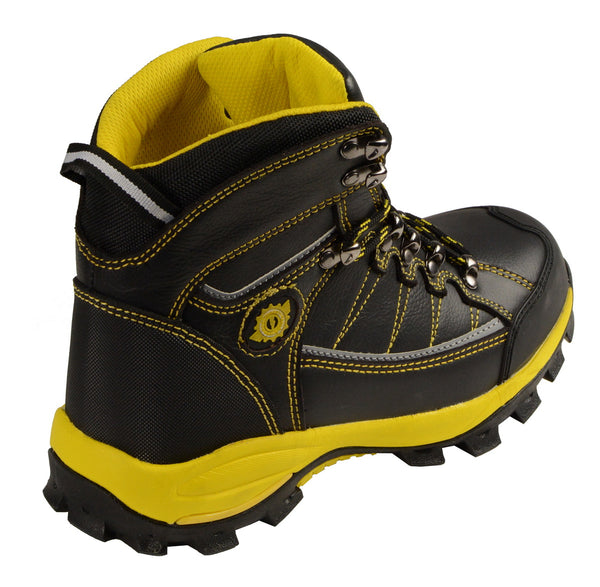 Bazalt MBM9123ST Men's Black with Yellow Water and Frost Proof Leather Boots with Composite-Toe
