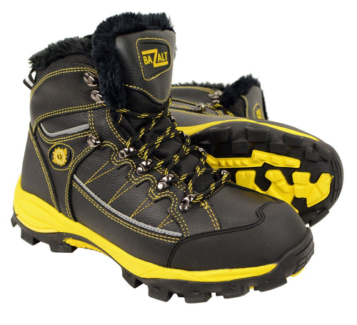 Bazalt MPM9124 Men's Faux Fur Lined Black with Yellow Water and Frost Proof Leather Outdoor Boots