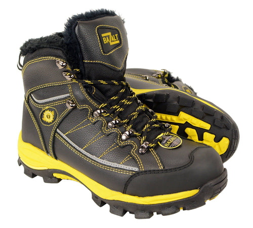 Bazalt MPM9125ST Men's Faux Fur Lined Black with Yellow Water and Frost Proof Boots with Composite-Toe