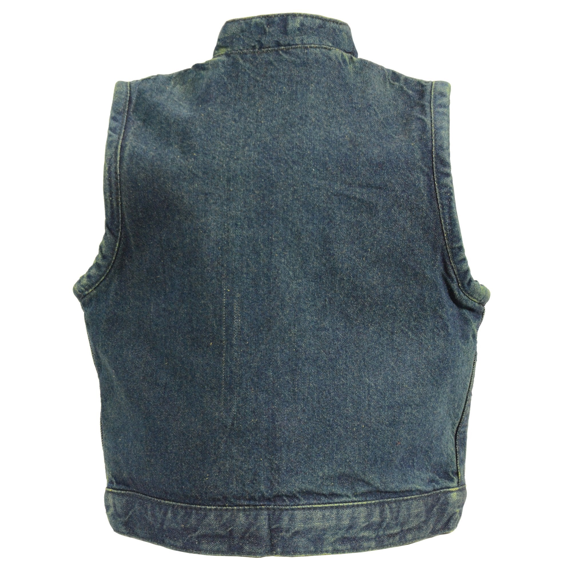 Milwaukee  Leather MDK3920 Kids Blue Denim Club Style Snap Front Vest