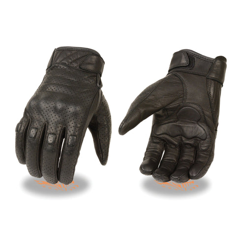 Milwaukee Leather MG7500 Men's Black Perforated Leather Gloves with Rubberized Knuckles