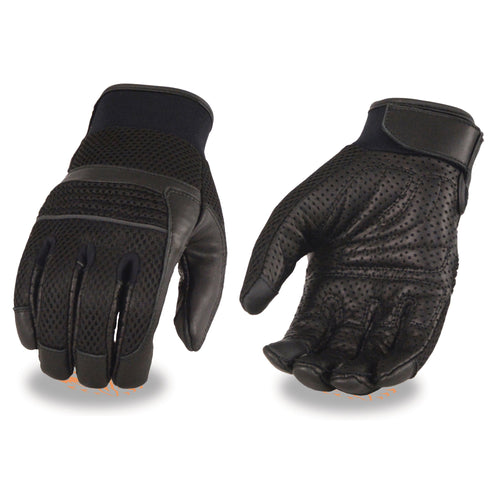Xelement XG7503 Men's Black Leather and Mesh Racing Gloves with Touch Screen Fingers