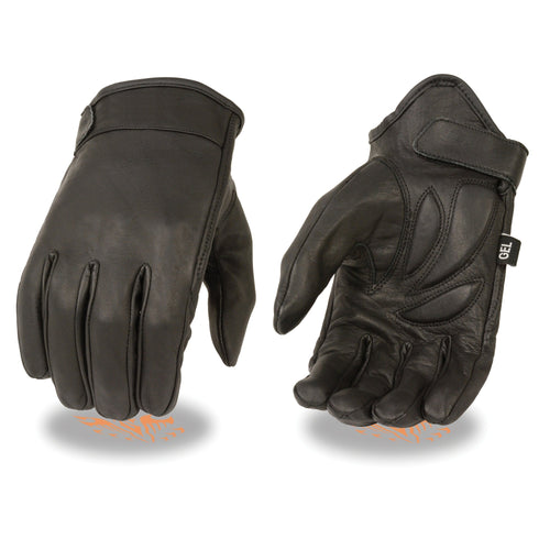 Milwaukee Leather MG7510 Men's 'Gel Palm' Black Short Wrist Leather Gloves