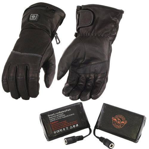 Milwaukee Leather MG7513SET Men's Black 'Heated' Leather Gauntlet Waterproof Gloves with i-Touch (Battery Pack Included)