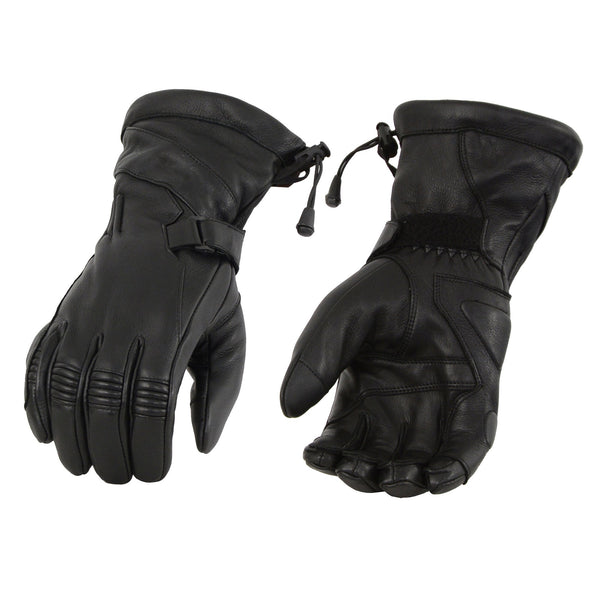 Milwaukee Leather MG7518 Men's Black Deerskin Leather Gauntlet Gloves with Draw String