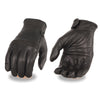 Milwaukee Leather MG7535 Men's 'Flex Knuckles' Black Premium Leather Riding Gloves with Gel Palm