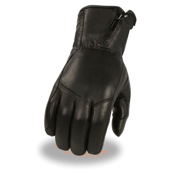 Milwaukee Leather MG7575 Men's Black Premium Leather Long Wrist Gloves with Zipper Top