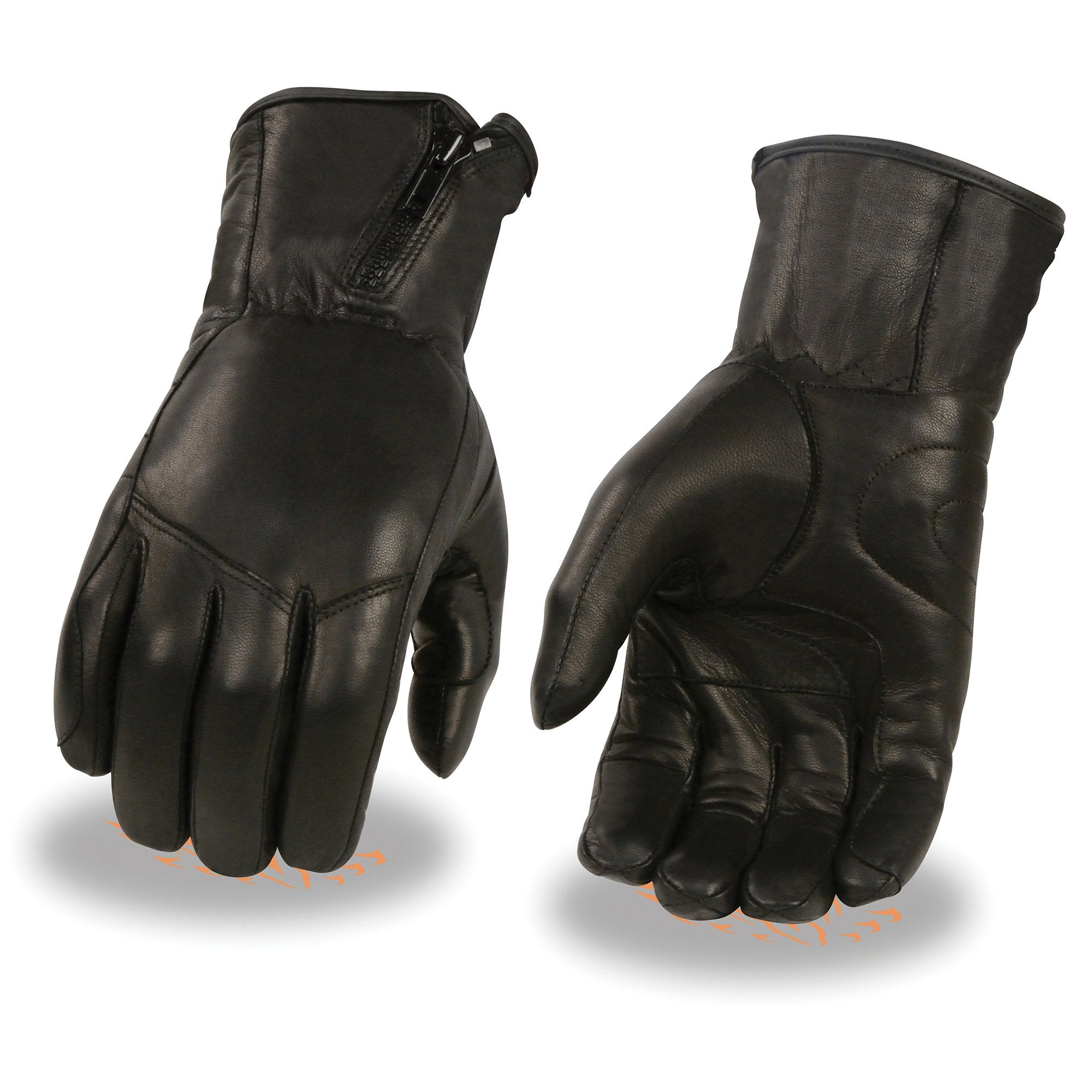 Milwaukee Leather MG7575 Men's Premium Leather Long Wristed Glove with  Zipper Top