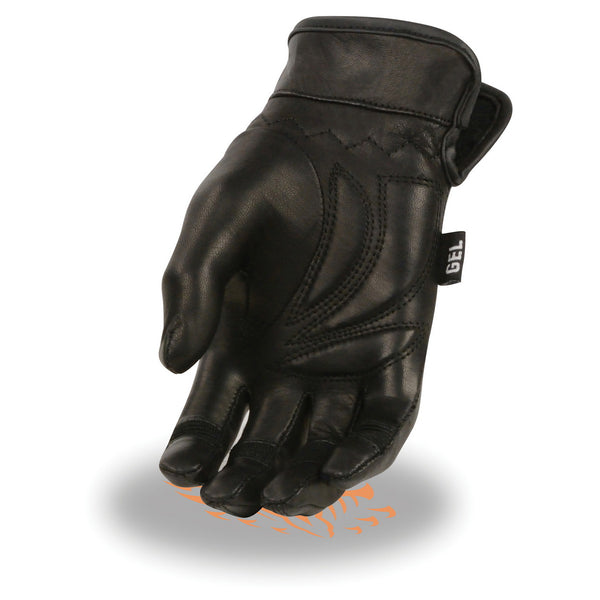 Milwaukee Leather MG7700 Ladies Black Lightweight Leather Gloves with Gel Palm