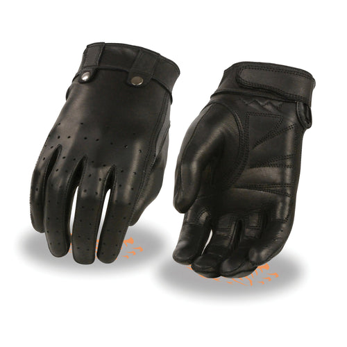Xelement XG7710 Ladies Black Leather 'Driving' Gloves with Perforated Fingers