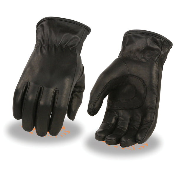 Milwaukee Leather MG7715 Ladies 'Thermal Lined' Black Leather Gloves with Cinch Wrist