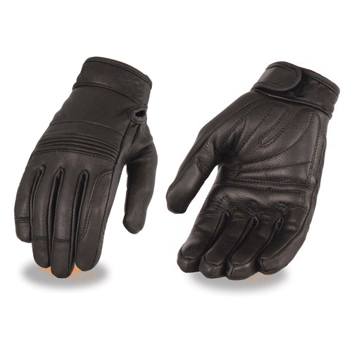 Milwaukee Leather MG7735 Ladies 'Flex Knuckles' Black Premium Leather Gloves with Gel Palms