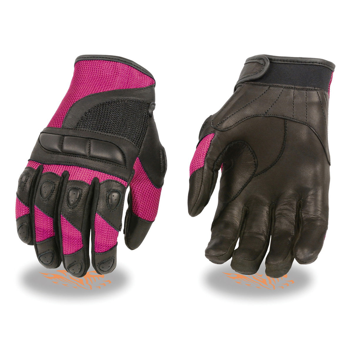 Milwaukee Leather MG7740 Black with Hot Pink Ladies Leather and Mesh Combo Racing Gloves