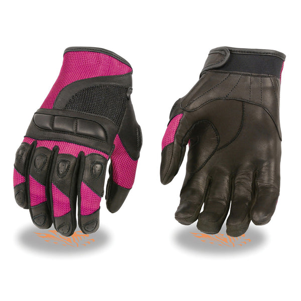 Milwaukee Leather MG7740 Ladies Black and Hot Pink Leather with Mesh Racing Gloves