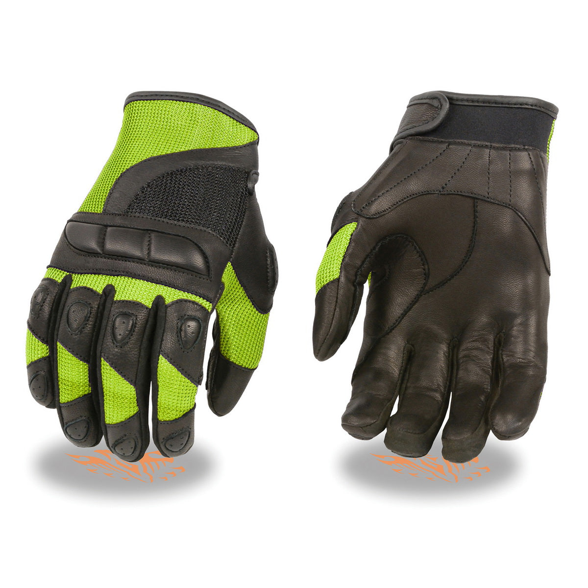 Milwaukee Leather MG7740 Black with Neon Green Ladies Leather and Mesh Combo Racing Gloves