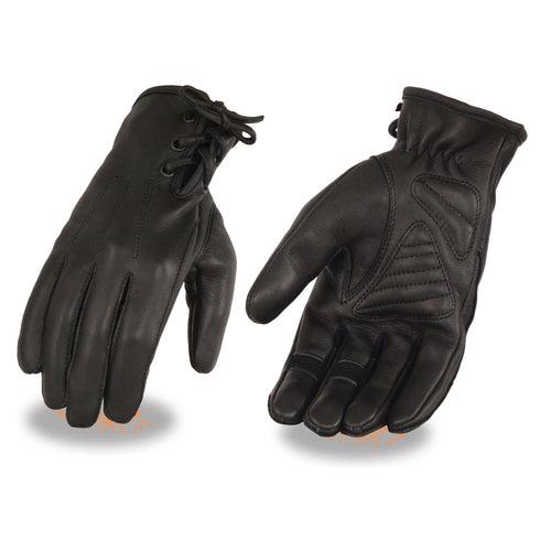 Milwaukee Leather MG7745 Ladies 'Laced Wrist' Black Deerskin Leather Gloves with Gel Palms