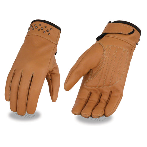 Milwaukee Leather MG7760 Ladies 'Riveted' Saddle Leather Gloves with Gel Palms