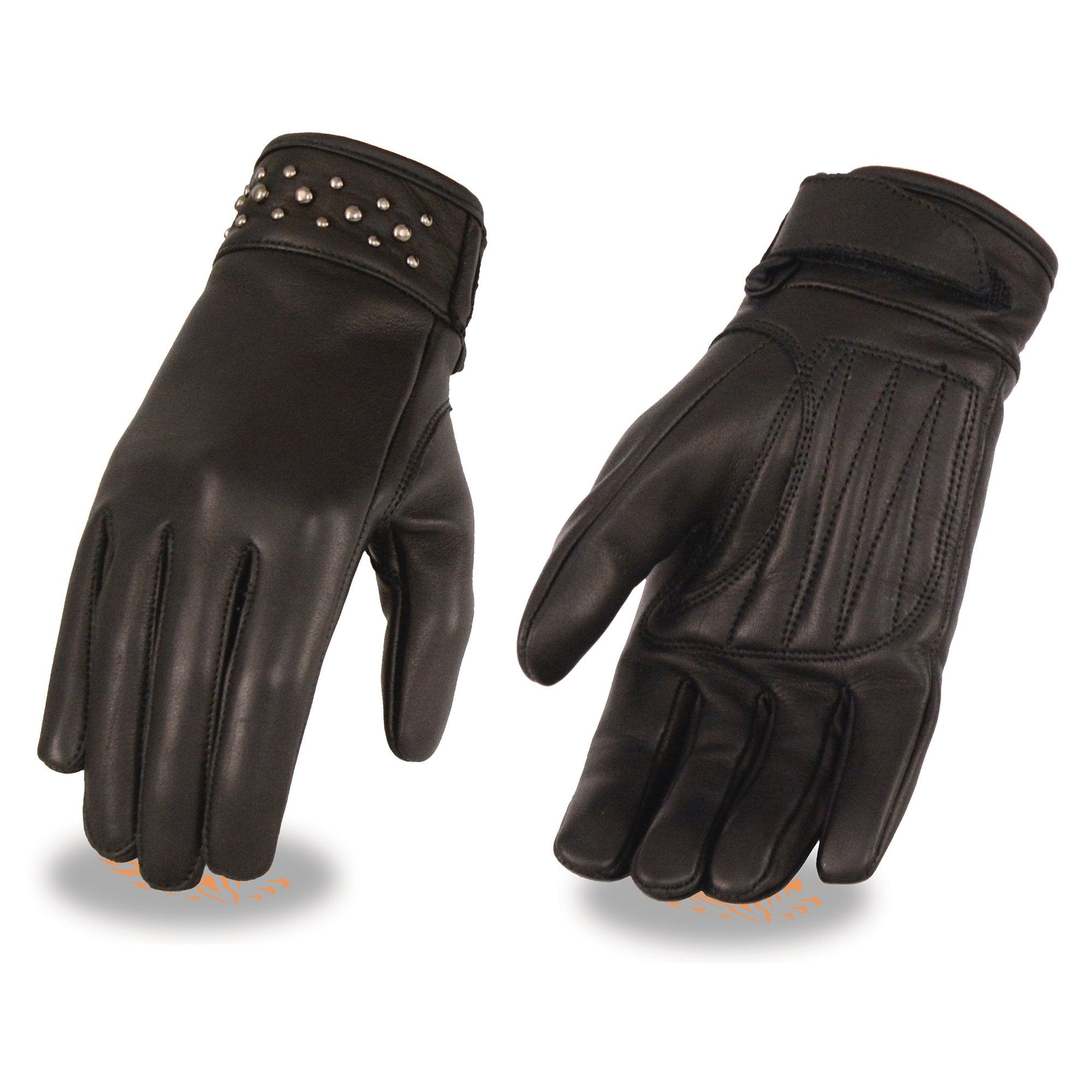 Milwaukee Leather MG7760 Black Ladies Leather Glove with Gel Pam and