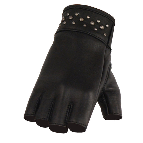 Milwaukee Leather MG7761 Ladies Fingerless Black Leather Gloves with