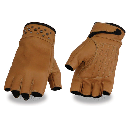 Milwaukee Leather MG7761 Ladies Saddle Leather Fingerless Gloves with Gel Palms
