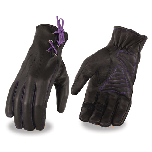 Milwaukee Leather MG7771 Ladies 'Laced Wrist' Black and Purple Leather Gloves with Gel Palms