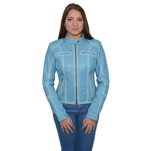 Milwaukee Leather SFL2830 Aqua Women's Scuba Style Sheepskin Leather Jacket