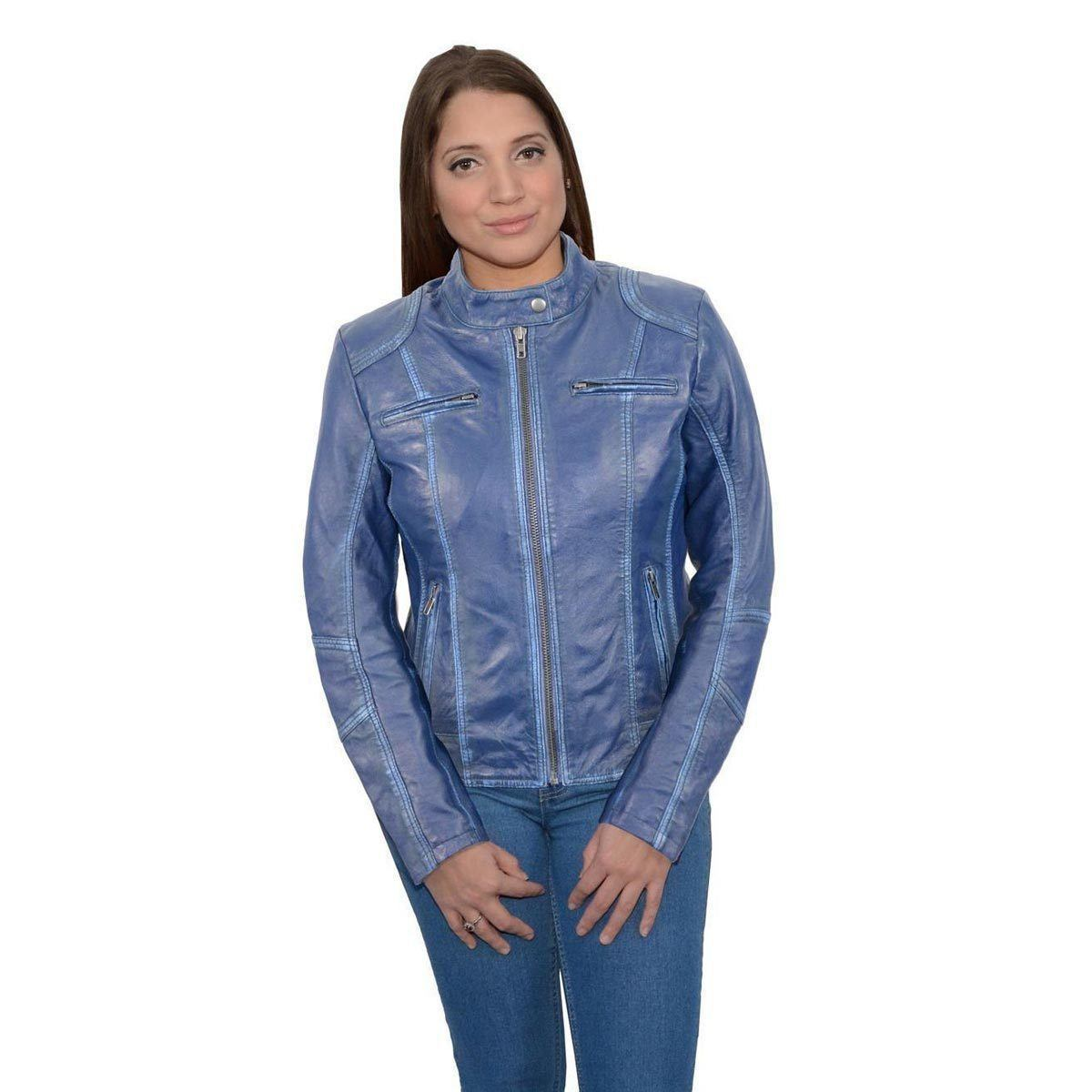 Milwaukee Leather SFL2830 Royal Blue  Women's Scuba Style Sheepskin