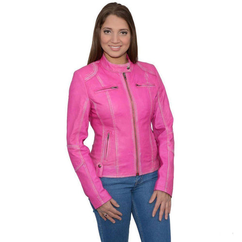 Milwaukee Leather SFL2830 Pink Women's Scuba Style Sheepskin Leather Jacket