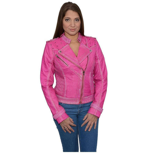 Milwaukee Leather SFL2840 Pink Women's Asymmetrical Studded Sheepskin Leather Jacket