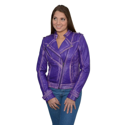 Milwaukee Leather SFL2840 Purple Women's Asymmetrical Studded Sheepskin Leather Jacket