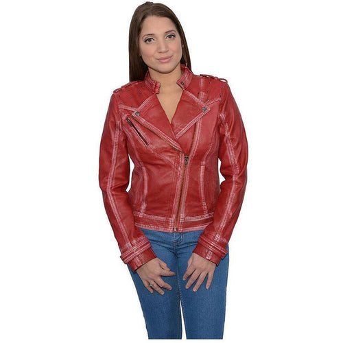 Milwaukee Leather SFL2840 Red Women's Asymmetrical Studded Sheepskin Leather Jacket