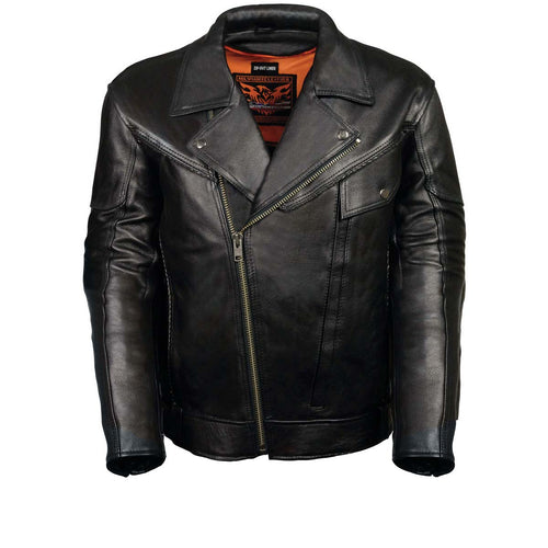 Leather King ML1077 Men's Black Braided Leather Motorcycle Jacket with Utility Pockets