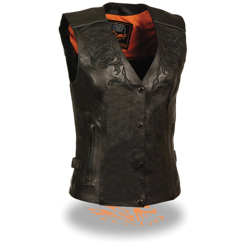 Milwaukee Leather ML1296 Women's Black Leather Vest with Reflective Tribal Design